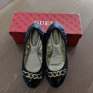 Guess black leather flats